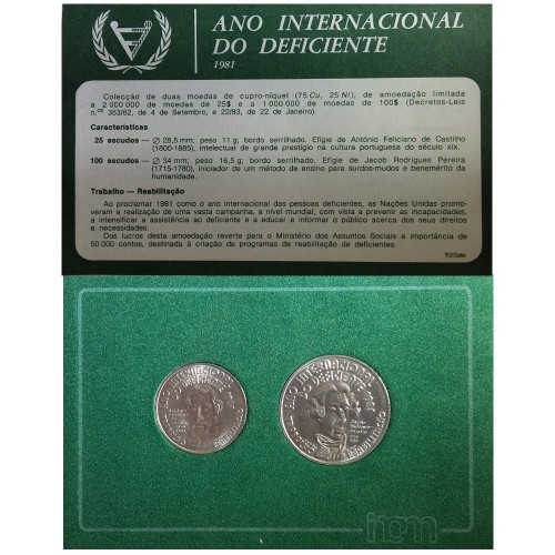 """Carteira B.N.C. 25$00 e 100$00 1981 """"A.I. Deficiente"""""""