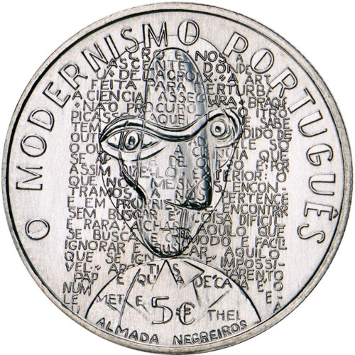 "Portugal  - 5€  2016 ""O Modernismo"" (Proof)"