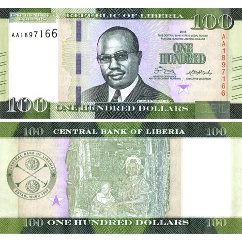 Libéria 100 Dolares 2016