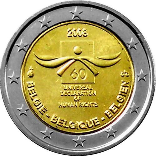 Bélgica 2€ 2008 Direitos do Homem