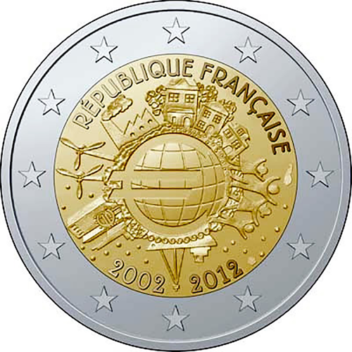 França 2€ 2012 10 Anos do Euro