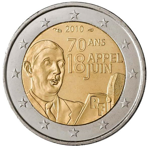 France 2€ 2010 Charles de Gaulle