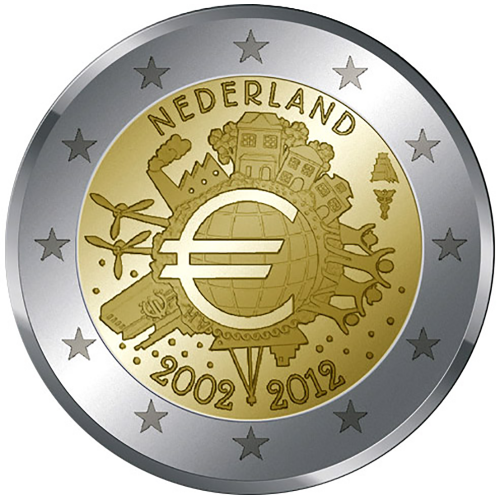 Holanda 2€ 2012 10 Anos do Euro