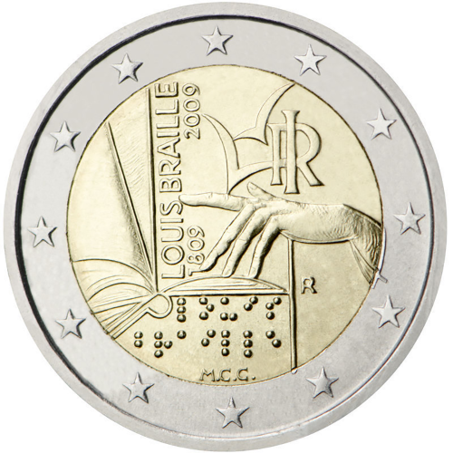 Itália 2€ 2009 Louis Braille