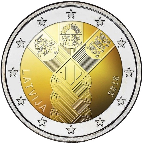 Latvia 2€ 2018 (100 Years baltic States)