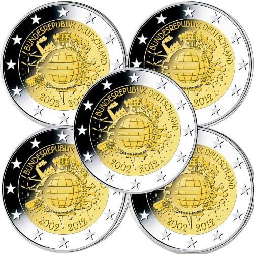 Alemanha 2,00€ 2012 10 Anos do Euro (5 Letras)