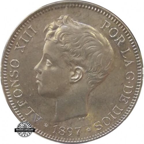 Spain 5 Pesetas 1897