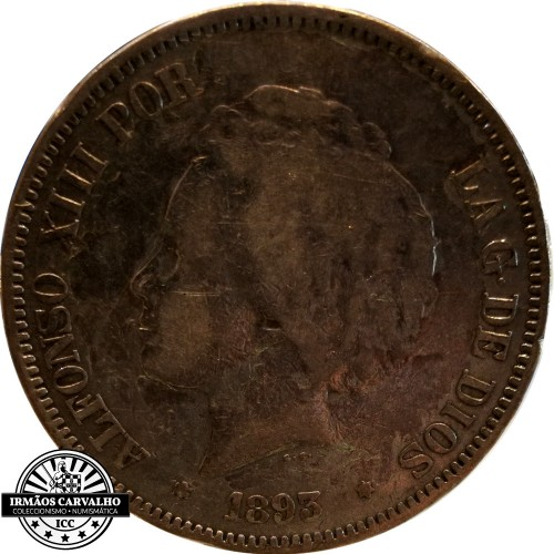 Espanha 5 Pesetas 1893