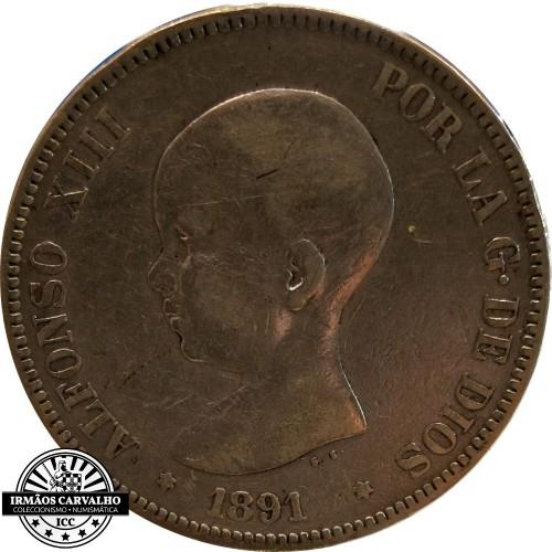 Espanha 5 Pesetas 1891