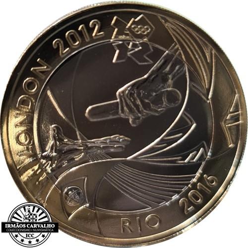 Inglaterra 2 Libras 2012 Passagem Bandeira Olímpica
