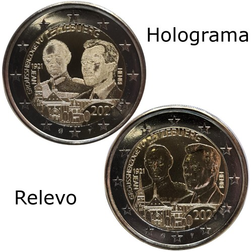 Luxembourg 2 x 2€ 2021 40 years marriage Grão Duque Guilherme