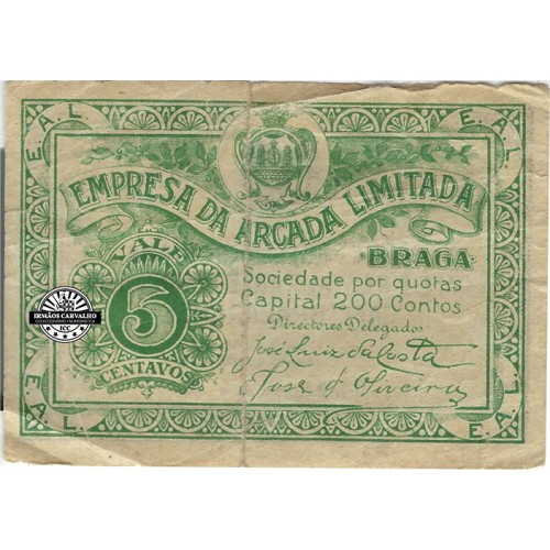 Notgeld Braga 5 Centavos