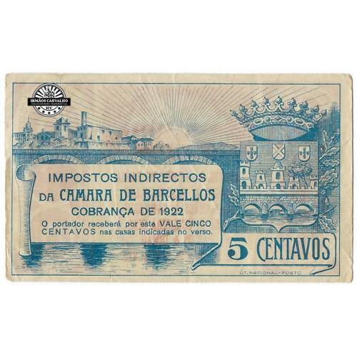Notgeld Barcelos 5 Centavos