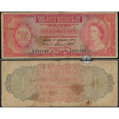 British Honduras 5 Dollars 1973