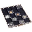 Tabuleiro para 20 moedas em alvéolos ou Cápsulas Quadrum (Preto)