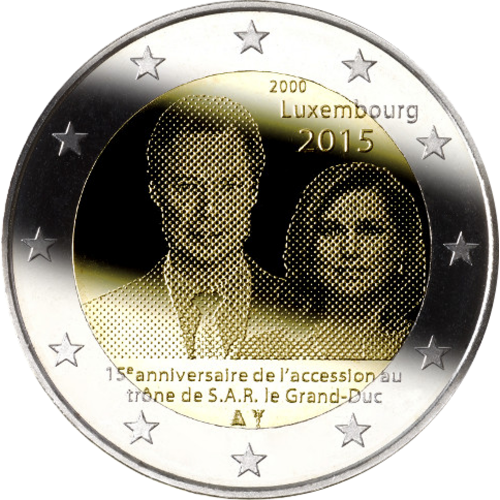 Luxembourg 2€ 2015 (15th aniv. Ascension to the throne)